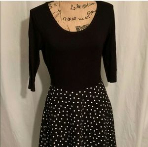 Kaileigh Dotted Two-Fer Fit and Flair Dress